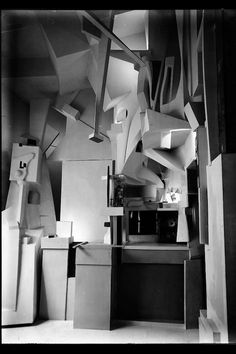"Kurt Schwitters' ""Merzbau,"" photographed in 1933. Dada artist Kurt Schwitters spent between 1923 and 1937 continuously building and altering his home into an experiential environment called ""Merzbau."" It was destroyed in an Allied bombing in 1943, and although the idea of the interactive art that used castoff objects to make something striking was incredibly influential to other artists, all that remains of the ""Merzbau"" are a few 1933 photographs of the space by Wilhelm Redemann from 1933."