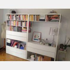 Estante c/cajones, blanco, Ikea FJÄLKINGE 0079257 Tv Storage, Office Storage, Studio Apartment Furniture, Bookshelves, Bookcase, E Room, Ikea Office, Study Rooms, Ikea Bedroom