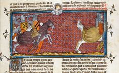 Detail of a miniature of Clovis defeating the Alemanni, after praying to Christ for vixtory, from the Grandes Chroniques de France, France (Paris), between 1332 - 135 Medieval Horse, Medieval Armor, Illuminated Letters, Illuminated Manuscript, The Royal Collection, Medieval Manuscript, The Monks, Anglo Saxon, British Library