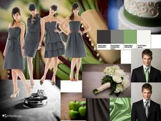 Black, White, Dark Grey and Green! Great colour scheme for my wedding! :)