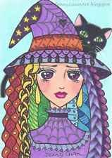 ACEO Original zentangle anime girl Witch and cat drawing by Jenny Luan