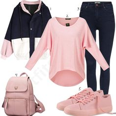 Rosa-Dunkelblaues Damenoutfit mit Jeans und Pulli (w0991) #pullover #jeans #rucksack #jacke #outfit #style #fashion #womensfashion #womensstyle #womenswear #clothing #frauenmode #damenmode #handtasche #inspiration #frauenoutfit #damenoutfit