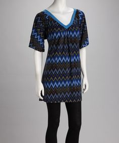 Take a look at this Jantie Blue Zigzag Dress by London Times, Jantie & Olivia Matthews on #zulily today!