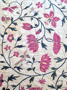 Bed hanging, Gujarati embroidery for the Western market, 17th century - V&A CIRC. 530-1923