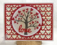 handmade Valentine ... luv the new Taylored Expressions dies used here!!  ... tree with hearts all over ... cover plate idie with overall heart pattern ... luv the music score background paper ...