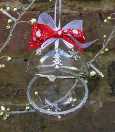 Personalised Hand Blown Glass Christmas Clamshell Bauble - with snowman ribbon by FlairAndFandangle on Etsy