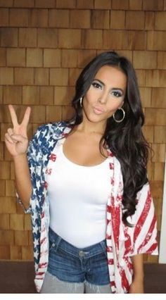 The 4th of July outfit. American flag kimono and cut off shorts with grey leggings
