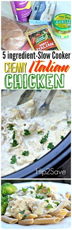 Easy Slow Cooker Creamy Italian Chicken (Just 5Ingredients)