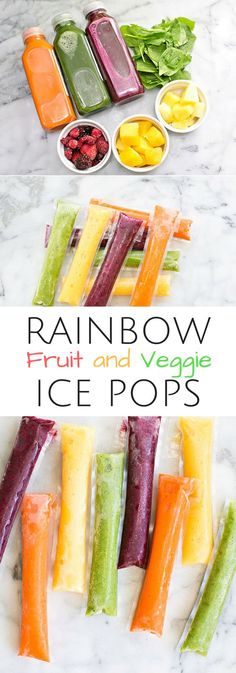 Rainbow Fruit and Veggie Ice Pops. Refreshing healthy summer treat or snack that's good for kids too!