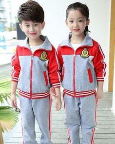 CH05419 Girl boy child school uniforms 2pcs set  toddlerschooluniforms  Uniformes Deportivos Para Niños 70ef3b7f9448a