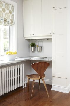 Awe Inspiring Home Office Design Ideas For Wonderful Kitchen Modern Design Ideas With Floating Countertop Hanging Storage Roman Shade White Baseboard White Cabinet Wood Desk Adorable Kitchen Desk Design Ideas
