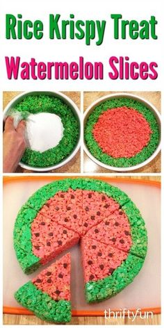 is a guide about Rice Krispy treat watermelon slices. Give the ever popular rice cereal treats a summertime look.This is a guide about Rice Krispy treat watermelon slices. Give the ever popular rice cereal treats a summertime look. Rice Crispy Treats, Krispie Treats, Rice Crispy Cake, Homemade Rice Krispies Treats, Summer Treats, Holiday Treats, Cereal Treats, Rice Cereal, Reis Krispies
