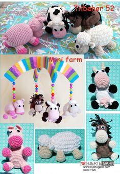 Patronen | Naaiatelier SerDani Crochet Baby Mobiles, Crochet Mobile, Crochet Toys, Baby Barn, Mini Farm, Baby Rattle, Crochet For Kids, Diy Baby, Yarn Crafts