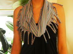 Striped Tshirt cowl neck scarf! No stitching required.