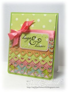 """OWH Stars and Stamps: Dimensional Ruffle Card tutorial - live tomorrow    Punched strips:  4"""" X 1 3/4""""  One she received had 7 layers of punched Kraft on  vintage-red, rafia in place of ribbon and buttons across her top."""