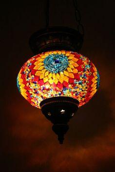 Turkish Morrocan hanging mosaic lamp