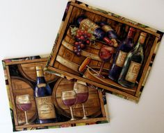 Quilted Wine Mug Rug Table Mats  Set of 2  by by QuiltsyTeam,