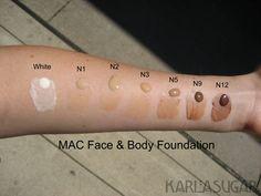 MAC, Face and Body, foundation, swatches, white, N1, N2, N3, N5, N9, N12