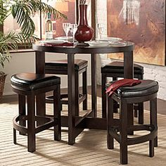 @Overstock - Capria pub set features clean lines and wedge seating for a contemporary dining experience  Dining room furniture is perfect for apartments and smaller living spaces  Bar set includes one table and four stools  http://www.overstock.com/Home-Garden/Capria-5-piece-Counter-height-Pub-Set/3552738/product.html?CID=214117 $603.99