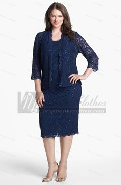 Plus Size Column Dark Navy lace cheap Mother Of The Bride Dress cms-117