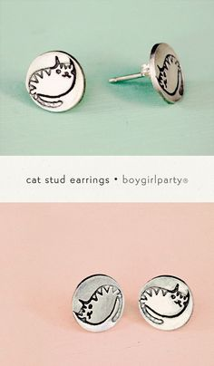 Sterling Silver Cat Stud Earrings from http://shop.boygirlparty.com