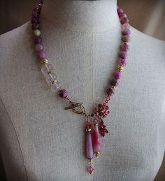 PLUM BLOSSOM Pink Jade Quartz Necklace and by carlafoxdesign