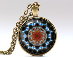 Awesome Art necklace with a chain or a leather cord. Beautiful New age pendant. Nice Mandala jewelry in bronze or silver finish. SIZE: 25 mm (1 inch)