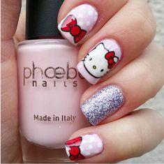 50 Cute Bow Nail Art Designs - Be Modish : hello kitty bow nail art bmodish Chat Hello Kitty, Hello Kitty Bow, Bow Nail Art, Cute Nail Art, Ongles Hello Kitty, Nail Art Dessin, Diy Nails Stickers, Kawaii Nails, Cat Nails