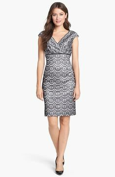 Adrianna Papell Bonded Lace Sheath Dress available at #Nordstrom for Meredith- grooms side