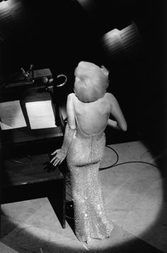 "Alone on stage, Marilyn Monroe sings ""Happy Birthday"" to President John F. Kennedy, New York, May 19, 1962."