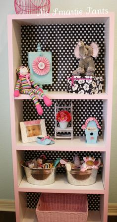 DIY Nursery Bookshelf... cute and can paint it and choose any wall paper so it can work for a boy or girl