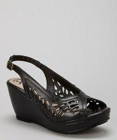 Black Cutout Leather Wedge Sandal  zulilyfinds Stitch 0282dde0a223a