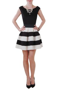 Been eyeing this skirt. Carrie Skirt - Fit and Flare Striped Mini Skirt - Humblechic.com, $48