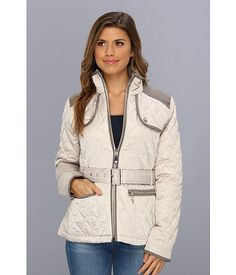 Vince Camuto Quilted Zip Front Belted Jacket F8021