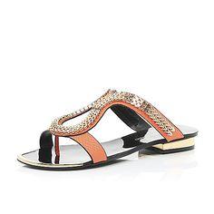 Orange chain loop sandals - flat sandals river island