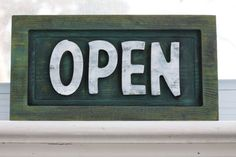 we are now open, Carved Wood Open Sign by PiccadillySignsDecor on Etsy,