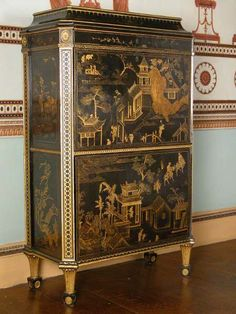 Columnar legs on Chippendale in Chinoiserie Style! Secretaire attributed to Thomas Chippendale, c. with Chinese lacquer panels and English japanning.