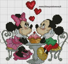 Mickey and Minnie Mouse Disney Cross Stitch Patterns, Counted Cross Stitch Patterns, Cross Stitch Charts, Cross Stitch Designs, Cross Stitch Embroidery, Disney Stitch, Stitch Cartoon, Cross Stitch Love, Mickey And Friends
