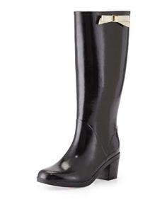 X2AH6 kate spade new york romi rubber bow rain boot, black