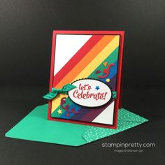 Confetti Celebration & Sprinkles Punch birthday card. Mary Fish, Stampin' Up! Demonstrator. 1000+ StampinUp & SUO card ideas. Read more http://stampinpretty.com/2016/07/colorful-confetti-celebration-card.html