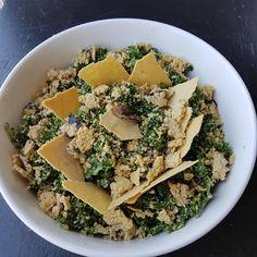 Kale Salad with sunflower parmesan, rosemary dulse crouton, sunflower caesar dressing