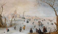 Hendrick Avercamp - Paysage d'hiver avec patineurs aux abords de Kampen