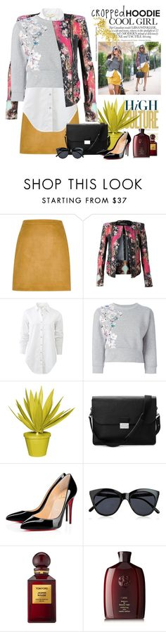 """Mixture - Helena Cueva"" by bmaroso ❤ liked on Polyvore featuring River Island, Balmain, rag & bone, Philipp Plein, Stray Dog Designs, Aspinal of London, Le Specs, Tom Ford, Oribe and CroppedHoodie"