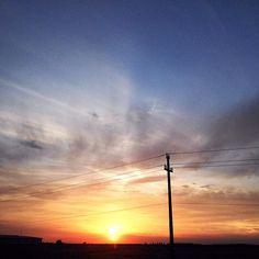Sunset on my road  #nofilter #travel #road #instagood #evening #sunset #sky #cloud #sun #blue #orange