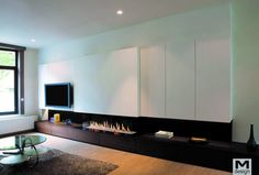 Inset Fireplace, Home Fireplace, Fireplaces, Built In Cabinets, Kitchen Cabinets, Bio Ethanol, Bosch, Antalya, House Plans