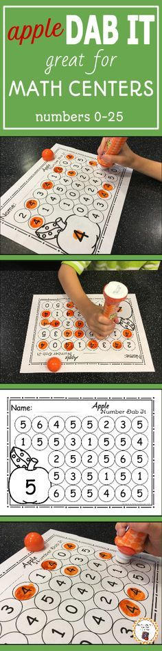 My kids love working with bingo markers! I know your preschool or kindergarten students will love working with these fun and educational apple themed number dab it no prep printables. Your children will enjoy working on number recognition in the math Numbers Preschool, Preschool Lessons, Preschool Learning, Kindergarten Classroom, Teaching Math, Math Activities, Preschool Activities, Preschool Apples, Kindergarten Prep