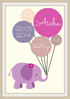 Elefant fødselstavle - Aicha (30x40) Baby Barn, Baby Clip Art, Homemade Gifts, Diy And Crafts, Drawings, Pictures, Painting, Dyi, Inspiration