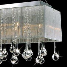 "Modern Crystal Chandelier Rectangular | 449.00 - 32"" Gocce Modern String Shade Crystal Rectangular Chandelier ..."