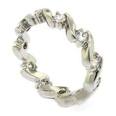 Amazon.com: Classic Eternity Wedding Band w/Round Brilliant White CZs: Alljoy: Jewelry