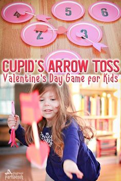 All you need for this easy Valentines Day game for kids is paper plates, straws, construction paper and glue! Theyll be tossing arrows like cupid in no tim Kinder Valentines, My Funny Valentine, Valentines Day Activities, Valentines Day Party, Valentine Ideas, Valentines Party Ideas For Kids Games, Holiday Games, Valentine Nails, Valentine Box